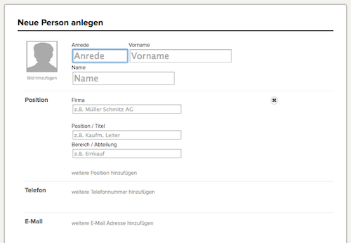 Neue Person im CRM anlegen