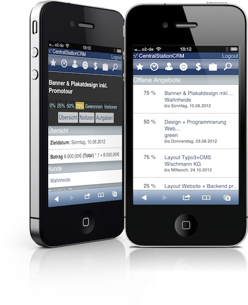Smartphone mit CRM Software